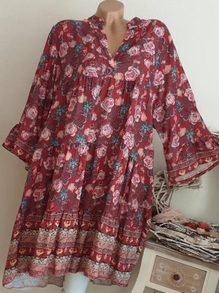 Kleid 38 40 42 44 beere gemustertes Tunika Hängerchen Viskose