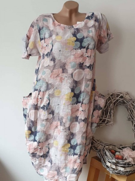 Kleid Ballonform rosa geblümt Taschen 40 42 44 Kurzarm Italy Tunika