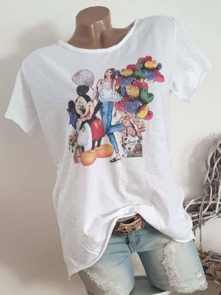 40 42 44 Tunika T-Shirt Shirt bunt Glitzer Nieten unfinished weiss