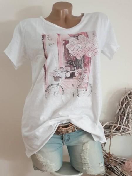 Italienische Mode NEU T-Shirt Shirt 38 40 42 Tunika Glitzer Nieten