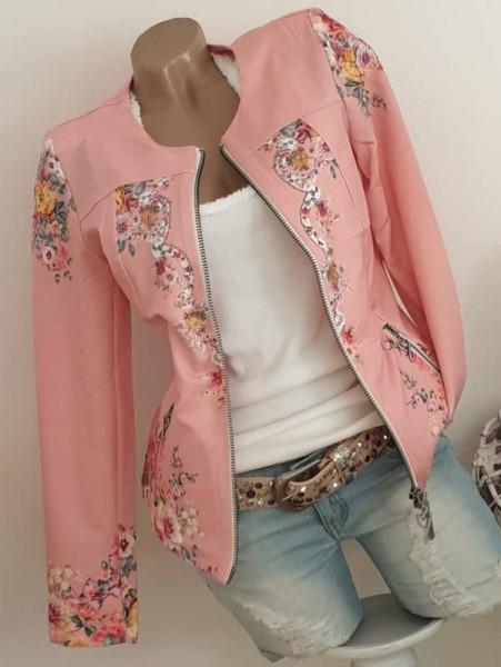 MISSY Jacke Zipperjacke XXL 44 rosa floral NEU Glitzer Doppelzipper