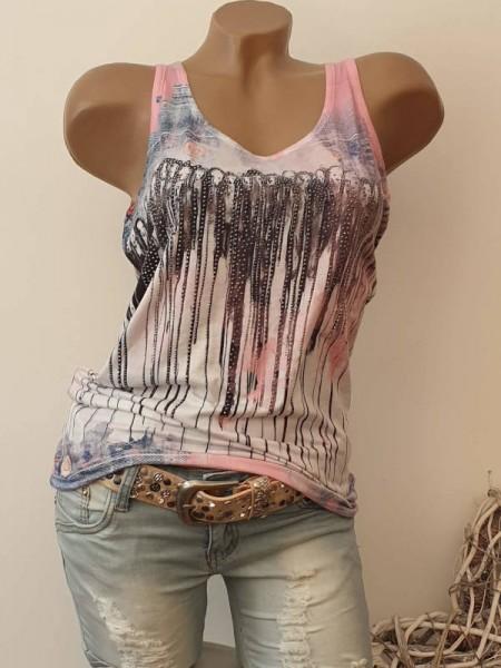 Longtop MISSY Top Shirt Steinchen Glitzer XL 42 gemusterter rosa Jeans Print