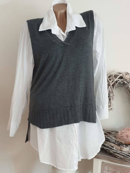 2tlg Bluse mit Pullover Weste 38 40 42 Hemdbluse weiss grau Neu