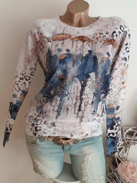 Strickpulli Pulli Pullover MISSY Feinstrick S/M 36 38 Abstrakter Aquarell Print