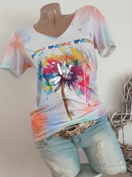 V-Neck NEU XL 42 MISSY T-Shirt Shirt Mulicolour Aquarell Print