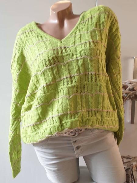 40 42 Oversized Pullover tolles Lochmuster Pulli NEU apfelgrün V-Neck Lurexgarn
