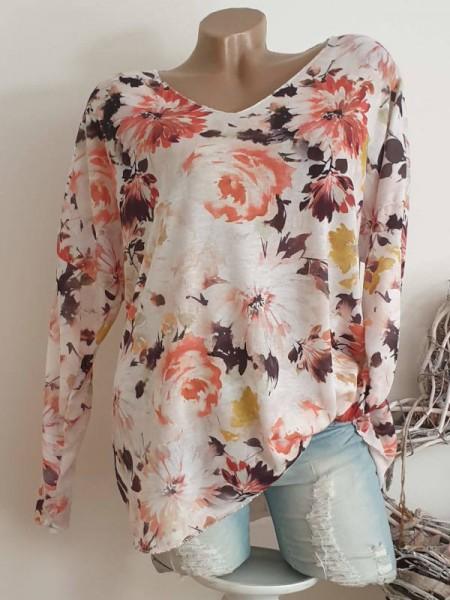 weiss floral V-Neck 38 40 42 Tunika Feinstrick Longsleeve Shirt Lurexsaum