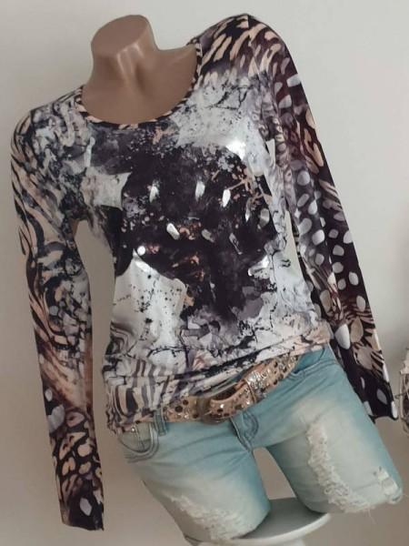MISSY Langarmshirt Shirt Longsleeve neue Kollektion L 40 Mouse Silber Print