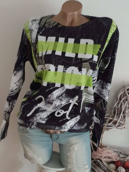 Pullover MISSY L/XL 40 Feinstrick Glitzer schwarz weiss grün gemustert
