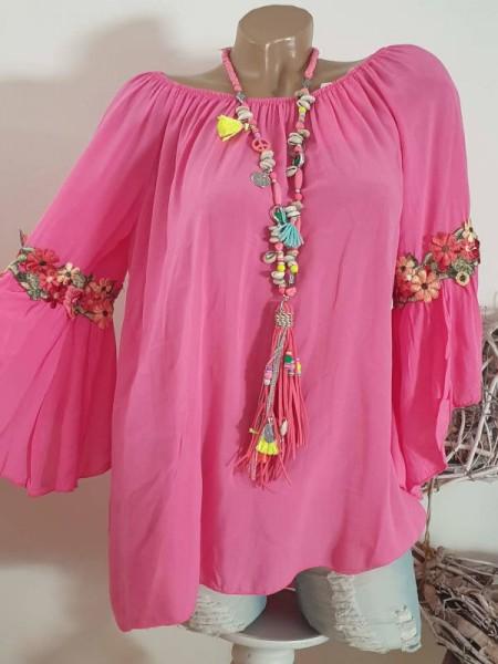 pink Tunika Bluse 38 40 42 Italy Blütenstickerei Carmen Off Shoulder Neu
