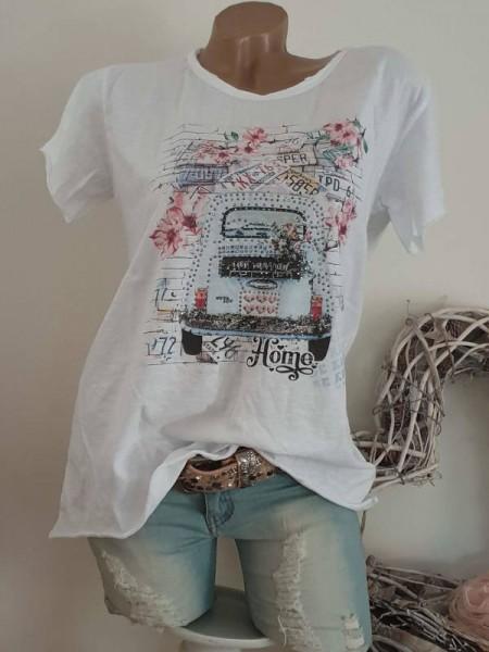 T-Shirt Shirt 40 42 44 Rollbündchen Italy Tunika Glitzer Nieten unfinished