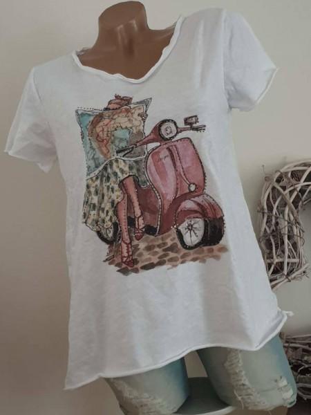 T-Shirt Shirt 38 40 42 Tunika Mädchen Roller Glitzer Nieten unfinished