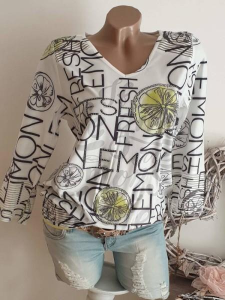 L 40 MISSY Shirt Ausbrenner breites Bündchen Lemon Print Tunika