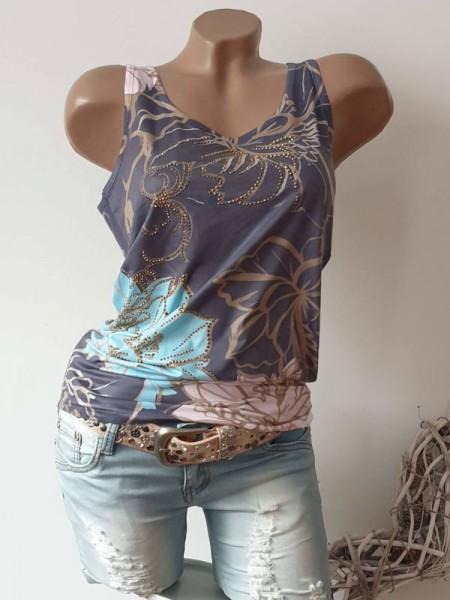 L 40 Longtop MISSY Top Glitzer grau pastellig floraler Print Shirt Steinchen