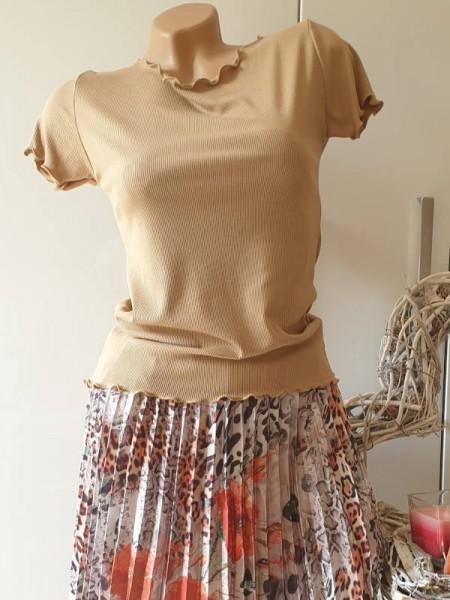 Baumwolle Feinripp Shirt 36 38 Kurzarmshirt Neu strechtig camel Wellensaum