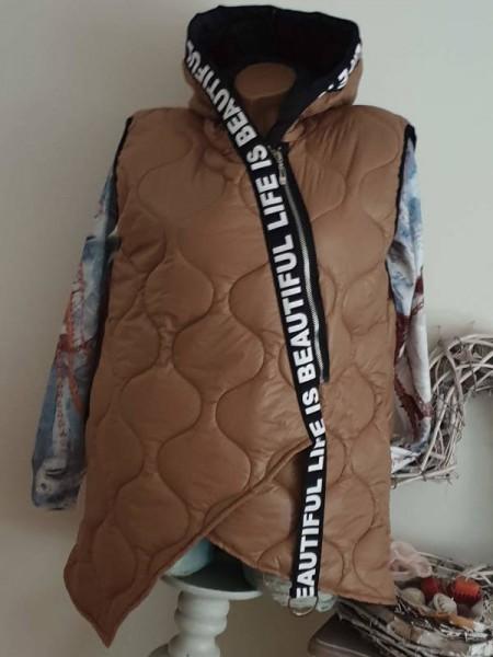 Coole A-Form Steppweste Kapuze Weste 38 40 42 Italy beige schräger Zipper
