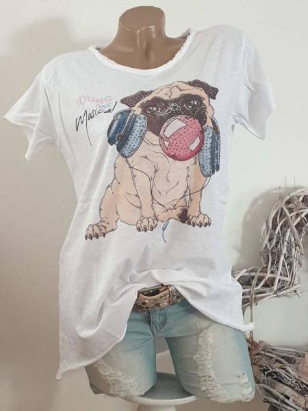 T-Shirt Shirt 40 42 44 Mops Kopfhörer Musik Glitzer Tunika Fashion Nieten