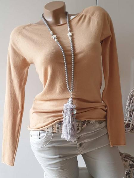 Feinstrick Longsleeve Pullover Tunika camel beige 36 38 NEU