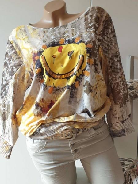 Tunika L 40 42 MISSY Shirt Ausbrenner kleines Bündchen Smiley Print