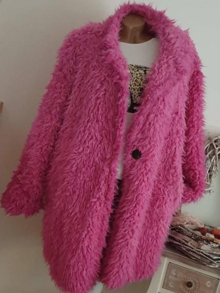 Pink Mantel Plüschmantel Teddymantel NEU 40 42 44 Zottelmantel Italy