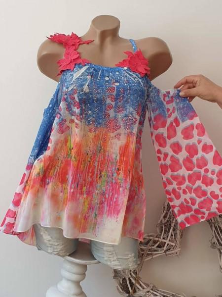 M 38 Tunika Blütenträger Bluse schulterfreie MISSY pink jeansblau bunt Chiffon