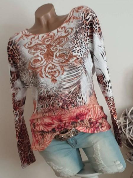 L 40 MISSY Langarmshirt Tunika Paisley Leo Blumenmix Print Glitzer Shirt