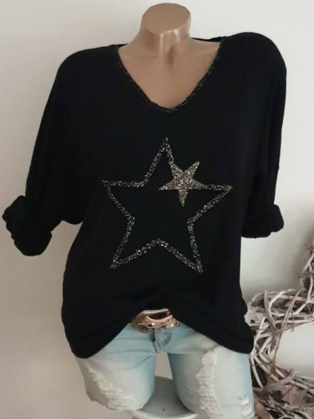 Glitzer Sterne schwarz Tunika Feinstrick Langarmshirt NEU 40 42 44