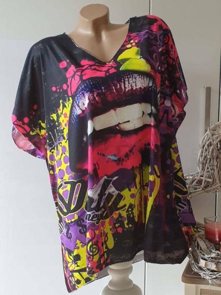 Tunika Kurzarmshirt bunter Graffiti Print 44 46 48 Feinstrick Lurexsaum Neu Italy