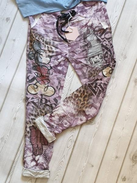 Comicprint lila bunt 38 40 42 Joggpants Hose Baggy Tunnelzug Baumwolle