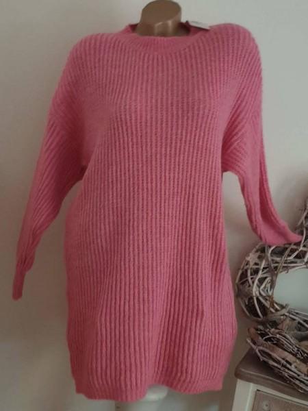 warmes Strickkleid Stiefelkleid rosa Grobstrickkleid Kleid 38 40 42