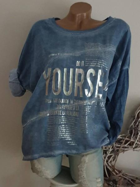 Tunika 40 42 44 NEU jeansblau Bluse Metallicprint sichtbare Aussennähte