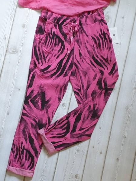 pink schwarz 38 40 42 Tunnelzug Joggpants Italy Baggy Hose