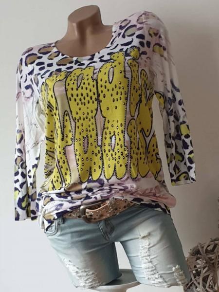 MISSY Tunika Shirt M 38 Neon gelb Graffiti Leo Print Glitzer Nieten Bündchen