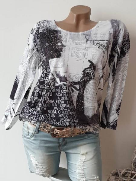 MISSY Tunika Shirt S 36 Letterprint Frau Print Glitzer Nieten Bündchen