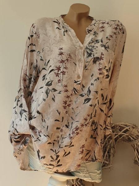 Bluse Fischerhemd Hemd Batikwaschung taupe floral 40 42 44 Hemdbluse Italy