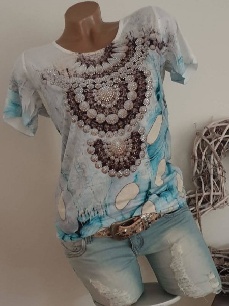 MISSY T-Shirt weiss bunter Print XL 42 Shirt Strass Nieten Neu