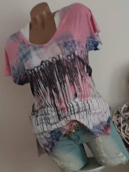 M 38 Kurzarm Tunika MISSY Shirt Jeansoptik blau rosa Print Glitzer