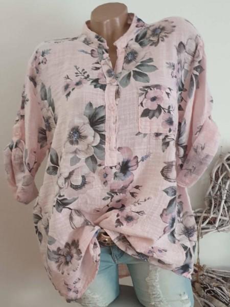 Leinenoptik Bluse Tunika Italy Hemdbluse 40 42 44 Baumwolle rosa geblümt
