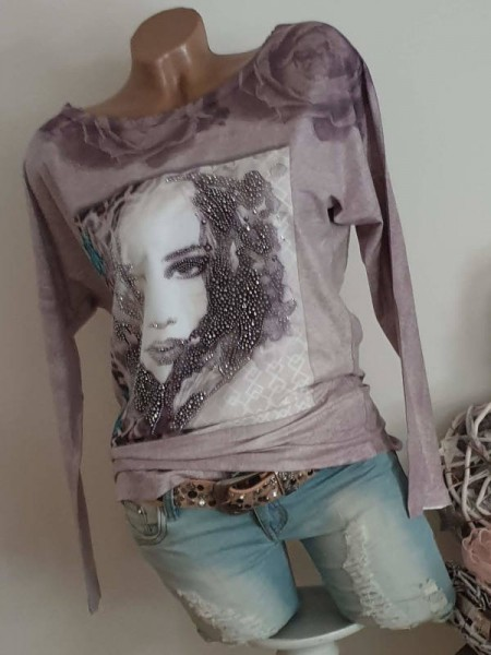 butterweiche Tunika S 36 Face Rosen viel Glitzer Shirt MISSY Langarmshirt