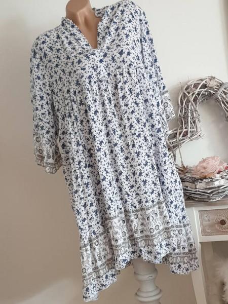 Tunika Kleid 42 44 46 Hängerchen Viskose weiss blau gemustert