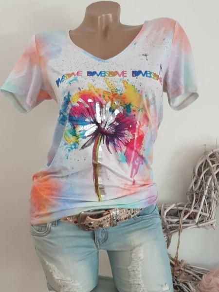 Mulicolour Aquarell Print V-Neck NEU L 40 MISSY T-Shirt Shirt