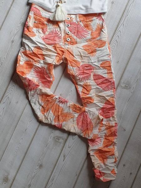 Gr. 40 Tropical Print Jeans Baggy Hose PLACE DU JOUR Knopfleiste weiss orange