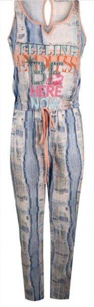 L 40 Einteiler Jumpsuit MISSY Overall bunt stretchig Hose tiefe Taille NEU
