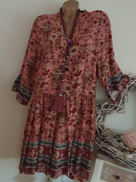 Kleid 40 42 44 Hängerchen gemustertes Tunika Viskosealtrosa bunt