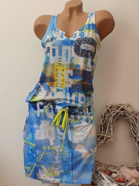 XL 42 Stretch Kleid tiefe Taille Glitzer blau weiss gemustert MISSY Tunnelzug