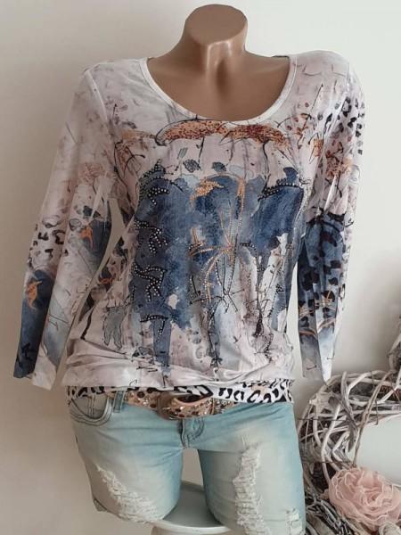 M 38 MISSY Tunika Shirt Abstrakter Aquarell Print Glitzer Nieten Bündchen