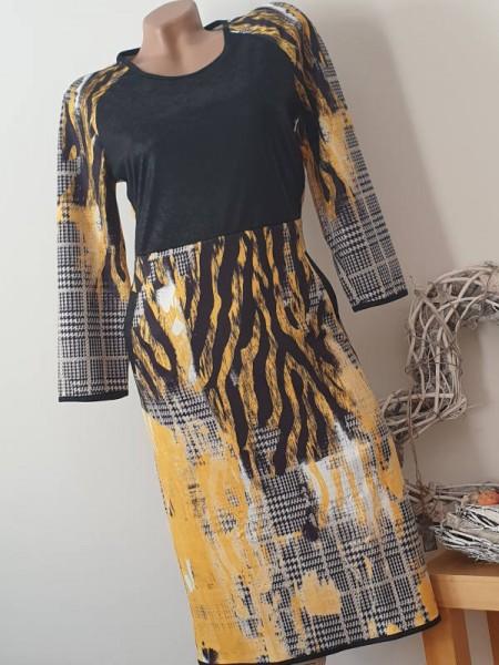 Butterweiches stretchiges Kleid M 38 MISSY Glencheck kariert 3/4 Ärmel Neu