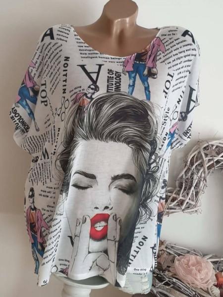 Kurzarm Shirt Tunika weiss 40 42 44 Feinstrick Oversized
