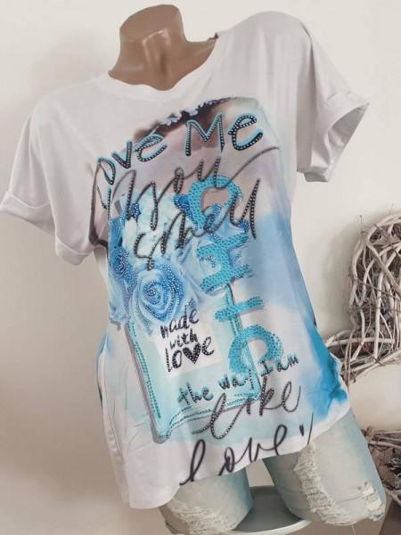 Kurzarm hinten länger L 40 MISSY Shirt Tunika weiss türkis Rosen Glitzer T-Shirt