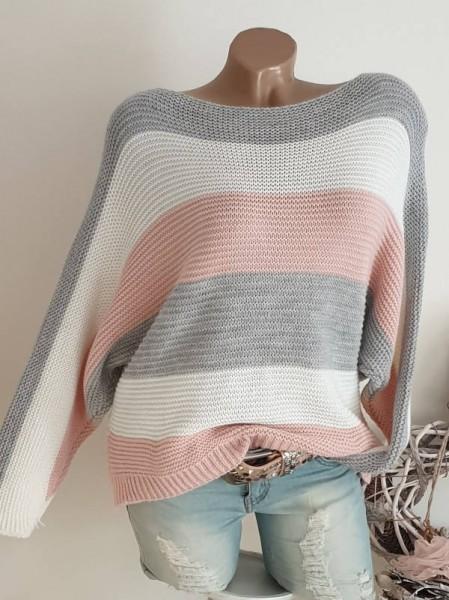 Oversized Fledermausarm 36 38 40 Pulli Pullover grau weiss rosa gestreift